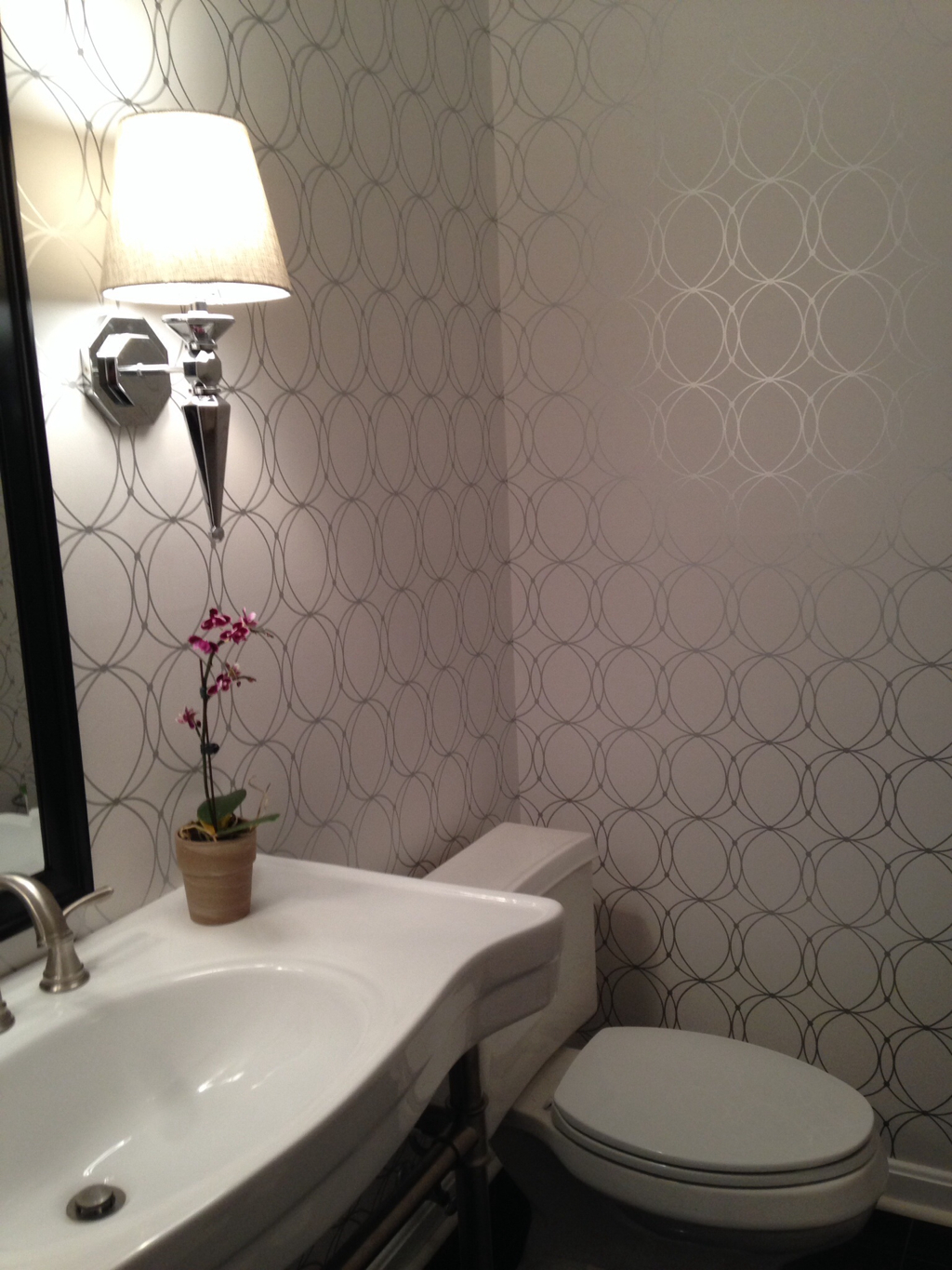 The Look For Less Powder Room Wallpaper